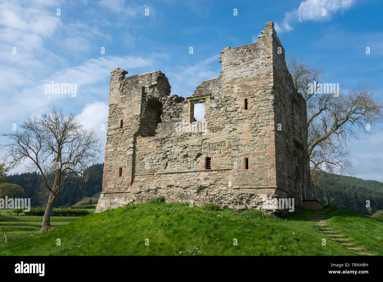 Hopton Castle, Shropshire, England. Restored as a historic visitor attraction in the Shropshire hills. - Stock Image