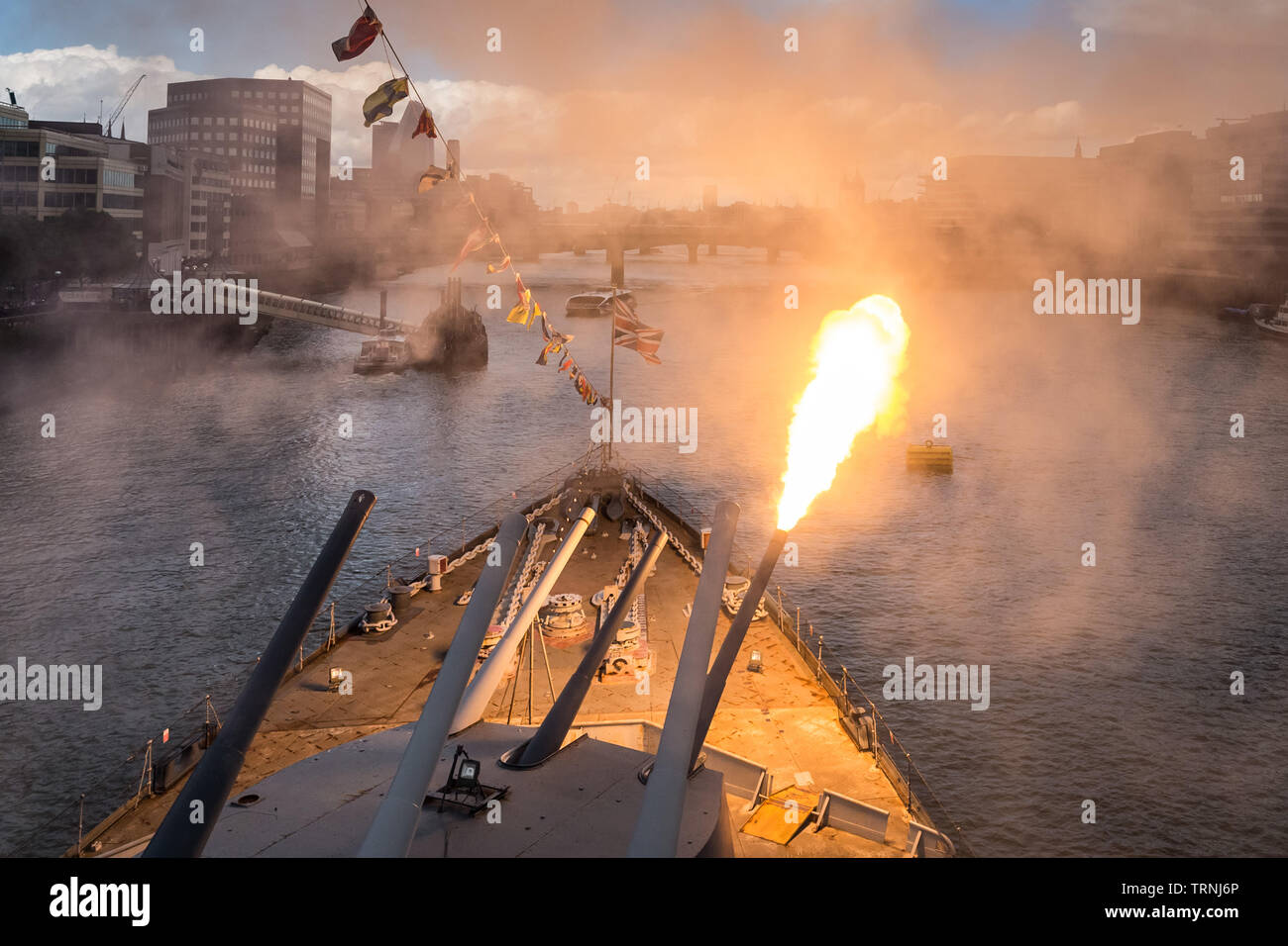 London, UK. 6th June 2019. Imperial War Museum marks 75th anniversary of the D-Day landing on board HMS Belfast. Three forward Guns are fired three times at 11:00am. Credit: Guy Corbishley/Alamy Live News Stock Photo