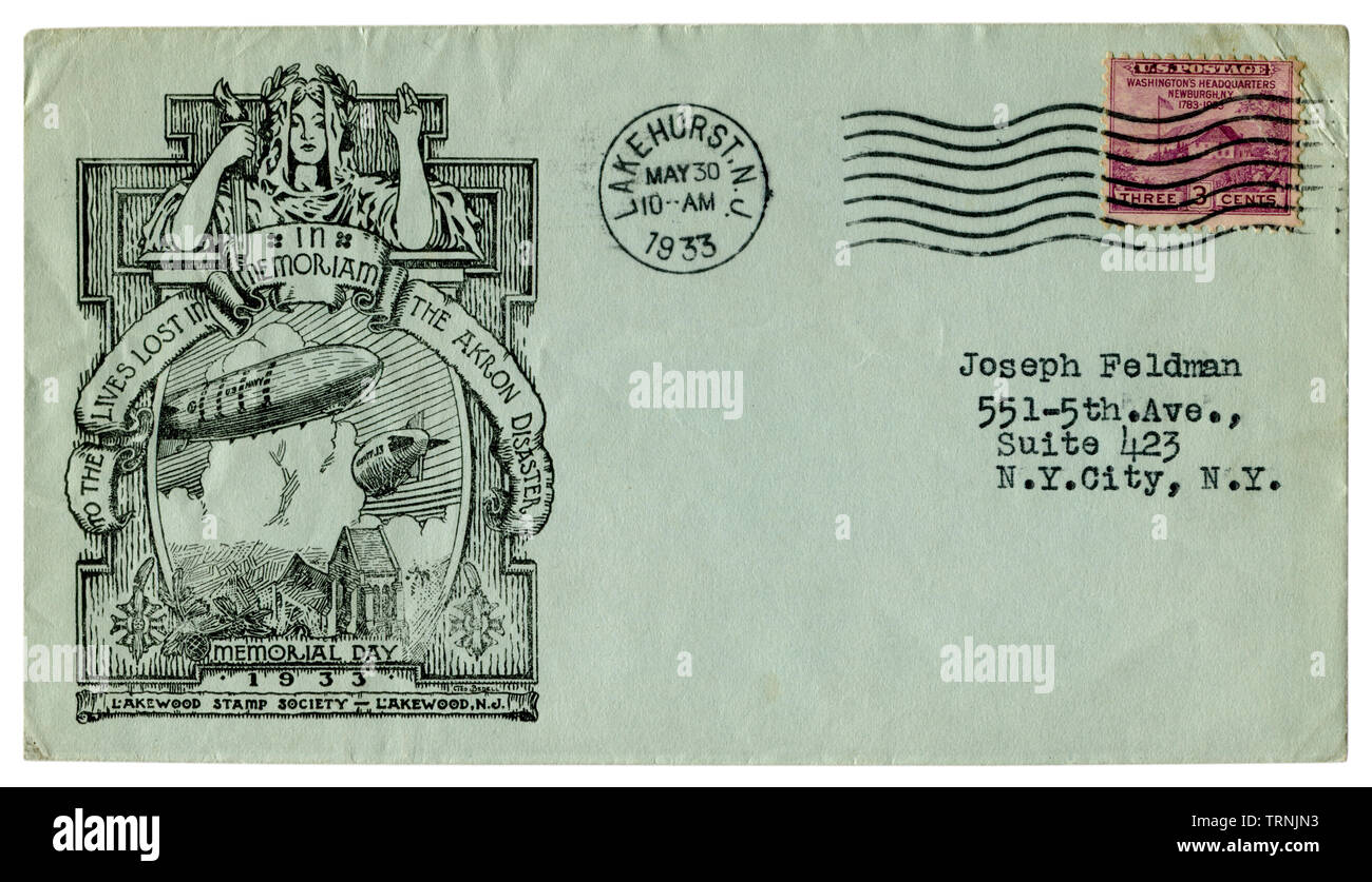Lakehurst, New Jersey, The USA - 30 May 1933: US historical envelope: blue cover with a cachet The USS Akron (ZRS-4) airship disaster, memorial day - Stock Image