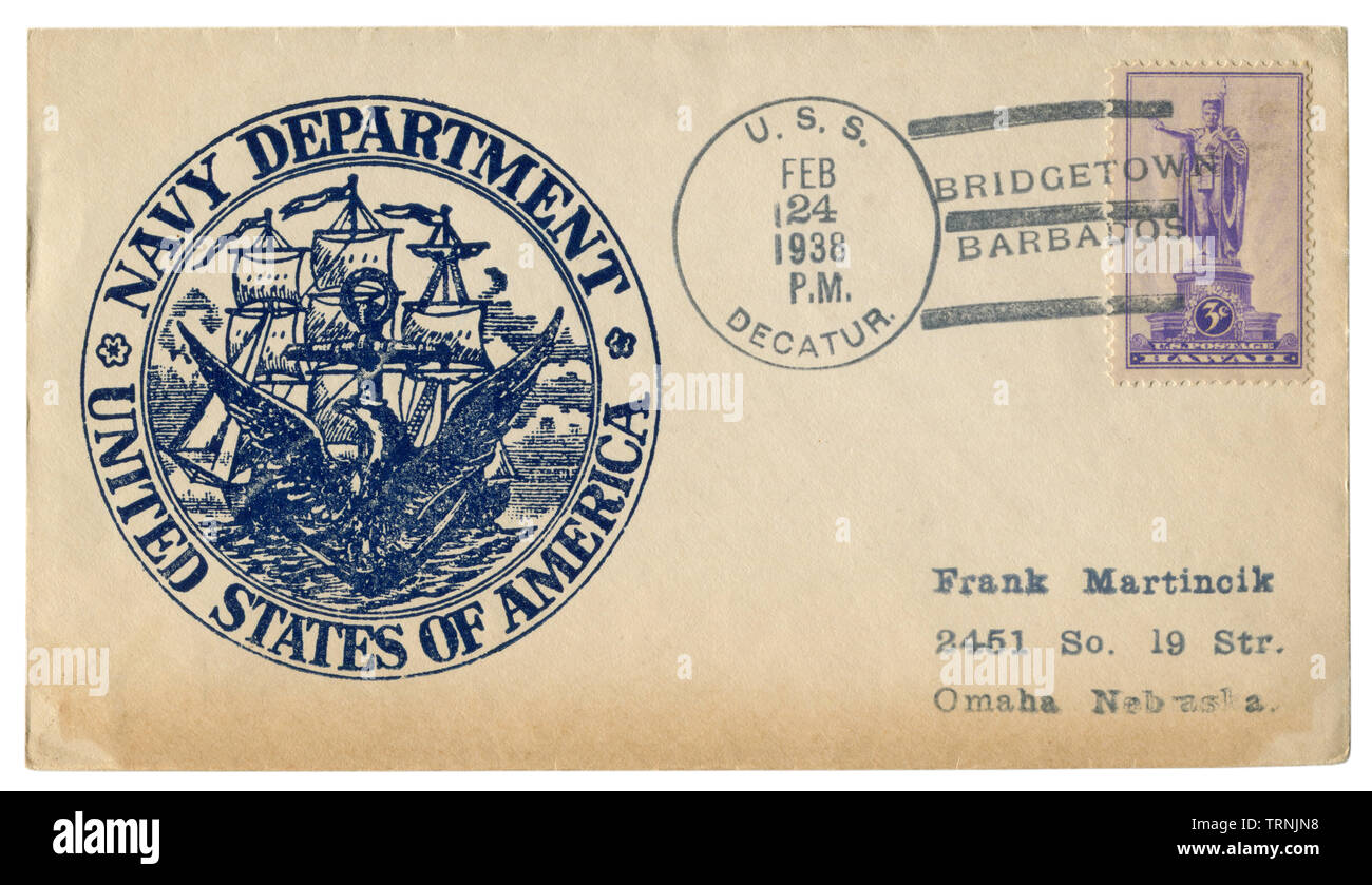 USS Decatur, Bridgetown, Barbados - 24 February 1938: US historical envelope: cover with cachet Navy department, United states of america, frigate - Stock Image