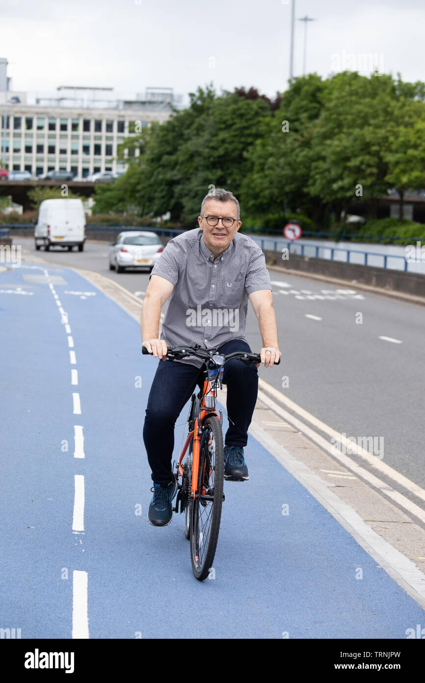 Tom Watson, Deputy Leader of the Labour party pictured at a cycling event in Birmingham. Tom is known for losing a tremendous of weight. Stock Photo