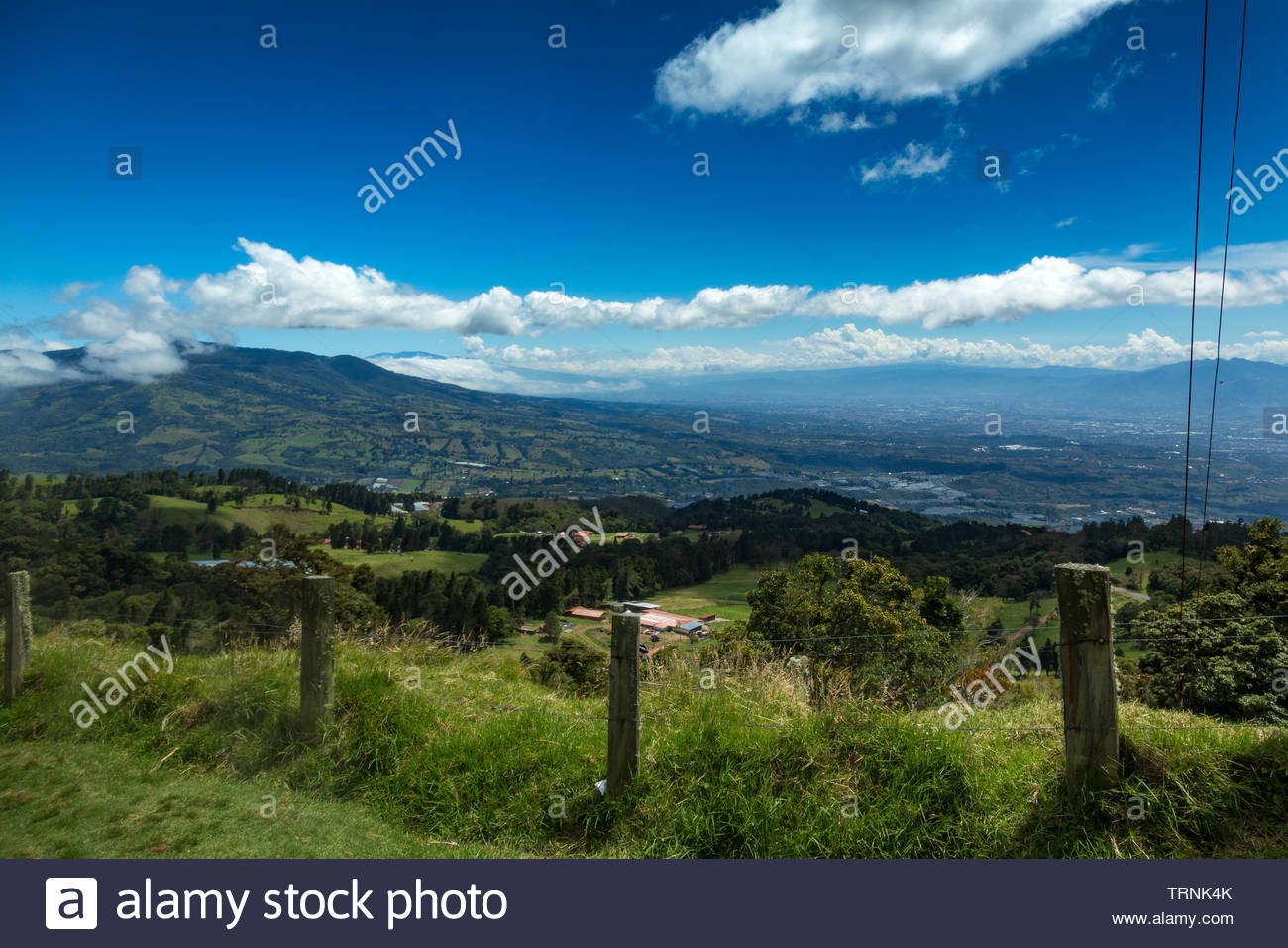 The crater and the lake of the Poas volcano in Costa Rica - Stock Image