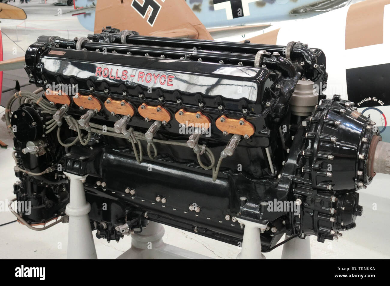 Rolls Royce Kestrel XVI V12 Super Charged Water Cooled Piston Aircraft Engine used in the Hawker Fury and Hawker Hart ( 1930s ) - Stock Image