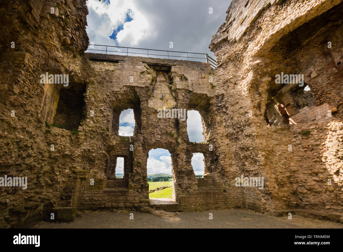 The ruined walls of Denbigh Castle built in the 13th century by Henry the first as part of his military fortifications to subdue the Welsh. It is now - Stock Image