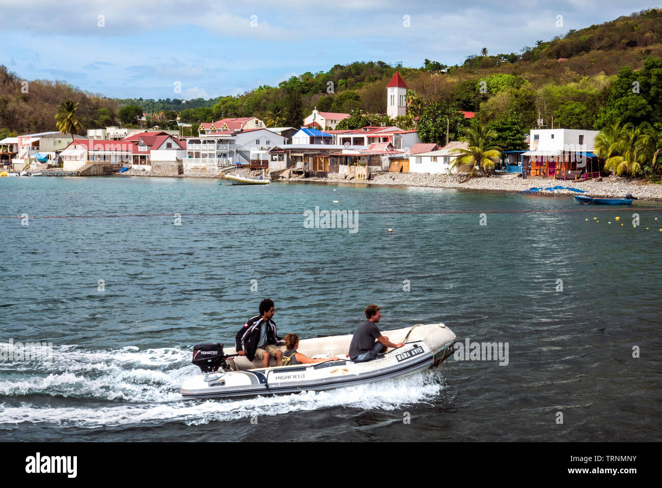 Small town of Deshaies in Basse Terre Guadeloupe French Antilles Stock Photo