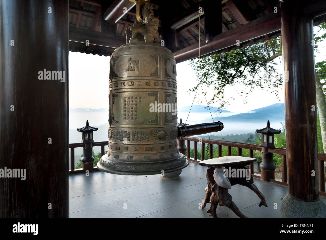 'Linh Quy Phap An' temple, Bao Loc town, Lam Dong Province, Vietnam - Jun 2, 2019: the bell tower at 'Linh Qui Phap An' temple, near Bao Loc town, Lam - Stock Image