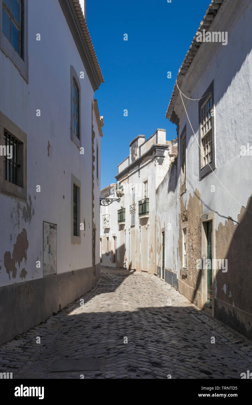 view of the old town of portuguese city Faro - Stock Image