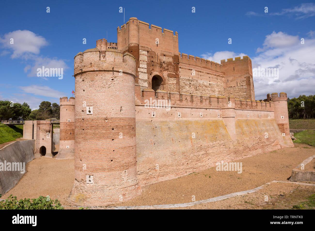 Castillo de la Mota, the Castle of Medina del Campo, in Valladolid, Leon. Spain - Stock Image