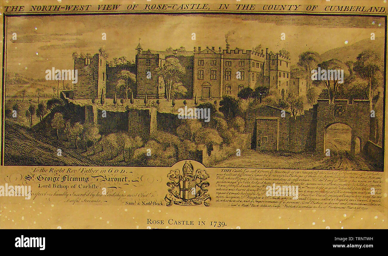 ROSE CASTLE, Cumberland (Cumbria) UK in 1739 - Stock Image
