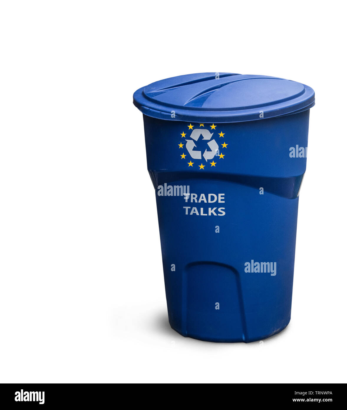 A recycling bin with the symbol of the EU. Below we see the words: TRADE TALKS. - Stock Image