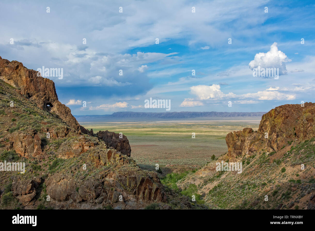 Pike Creek Trail on Steens Mountain looking east over the Alvord Desert in eastern Oregon. - Stock Image