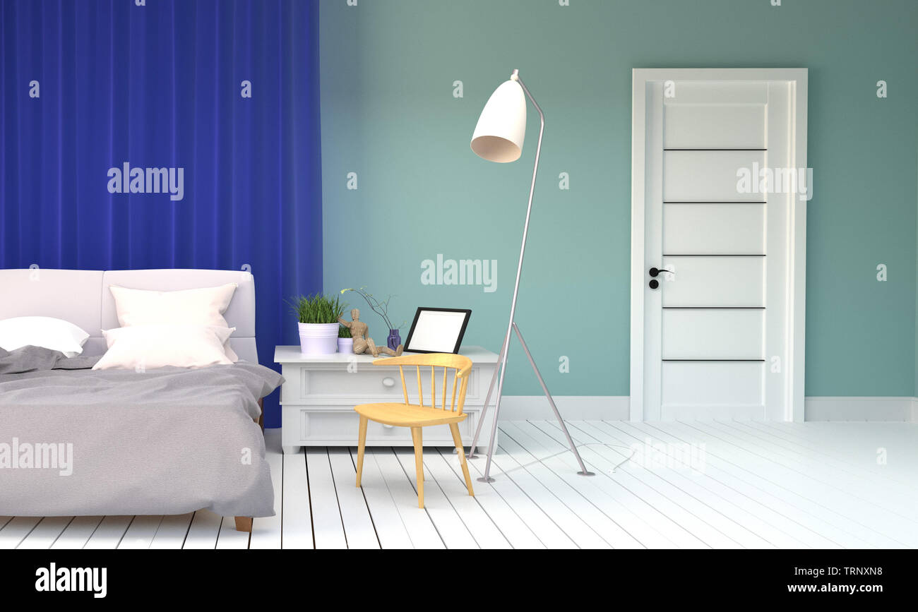 Bed Room Interior Mint Style Bed And Pillows Plants Lamp Door Frame And Wooden Chair White Floor On Empty Green Mint Wall Background 3d Rend Stock Photo Alamy