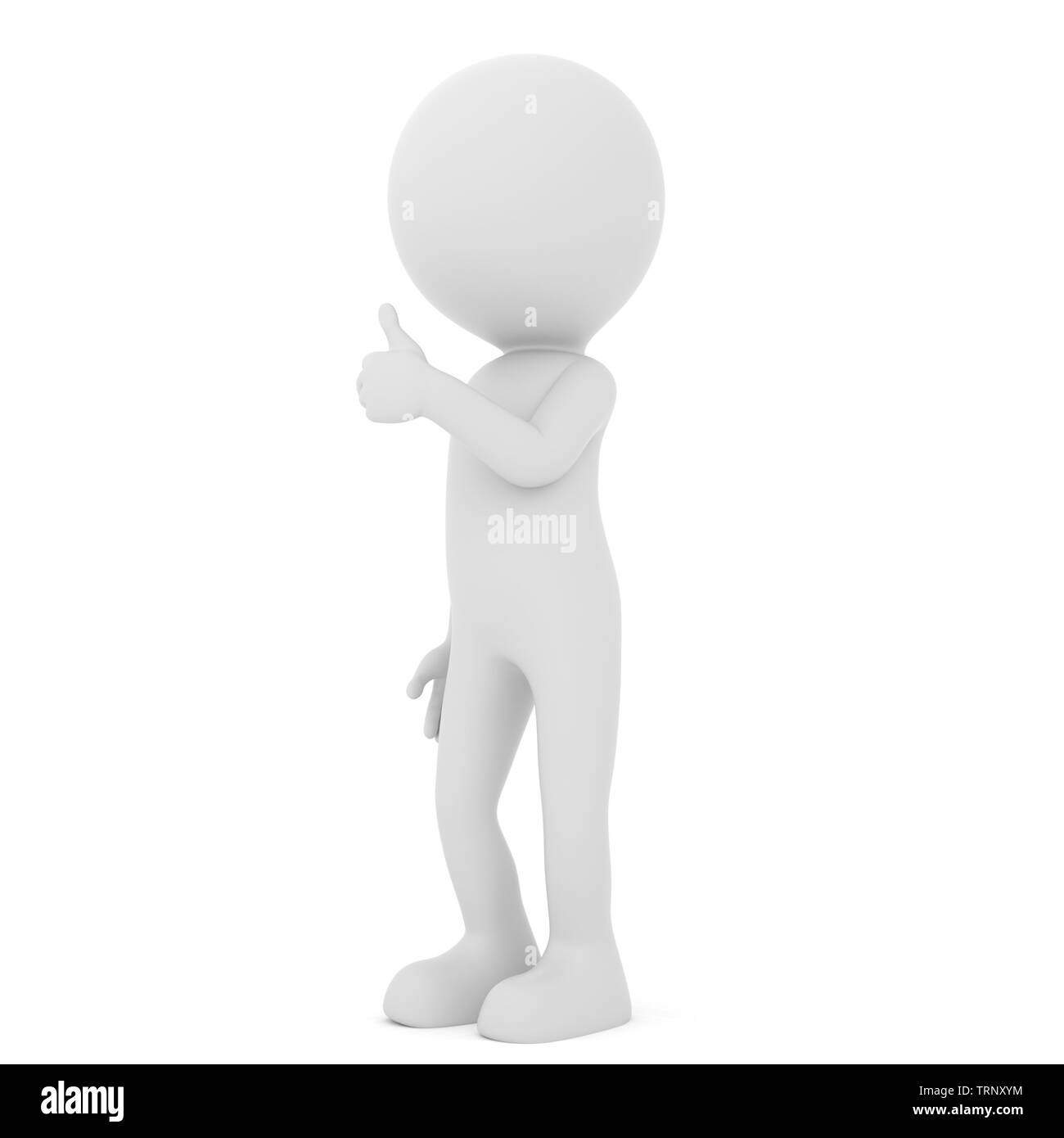 Man showing positive thumb up - human people character. 3D rendering - Stock Image