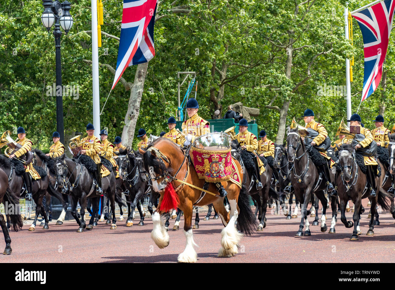 Mounted Band of The Household Cavalry on The Mall at The Trooping Of The Colour Ceremony ,London 2019 - Stock Image