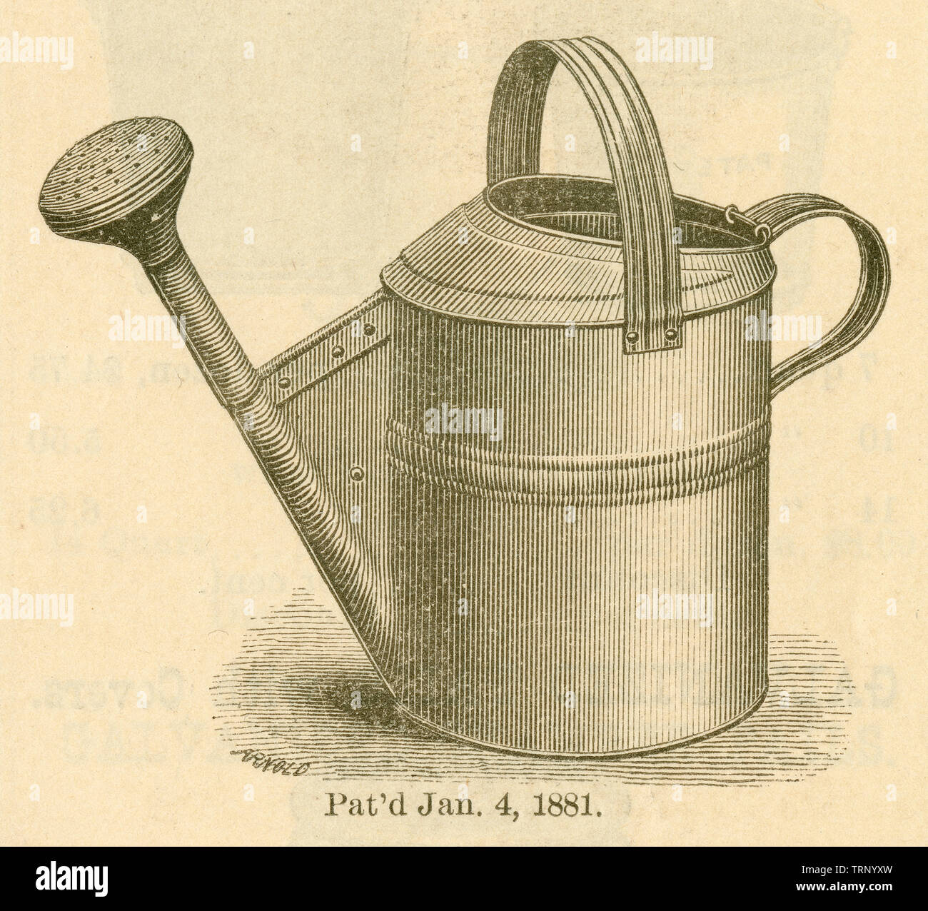 Antique 1881 engraving, galvanized watering pot by Iron Clad Manufacturing Company in Brooklyn, New York. SOURCE: ORIGINAL CATALOG. - Stock Image