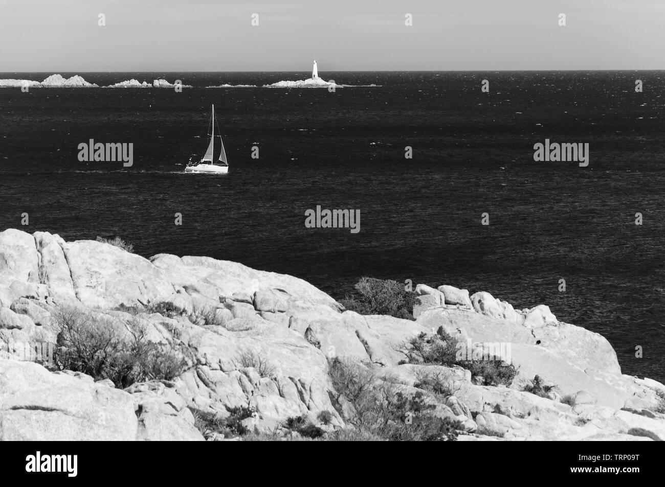 caprera sardinia monaci island with boat Stock Photo