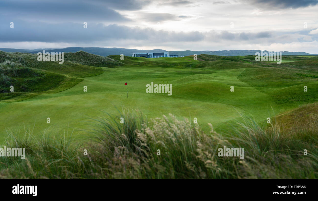 View of Machrie Golf Links golf course on Islay. In Inner Hebrides, Scotland, UK - Stock Image
