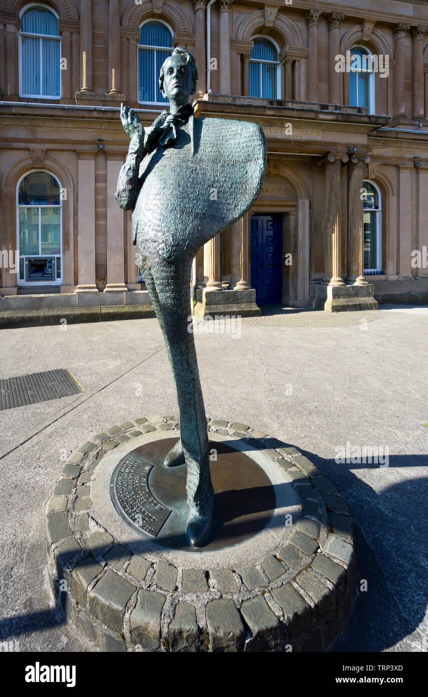 William Buttler Yeats Memorial outside the Ulster Bank in Sligo City, Ireland - Stock Image