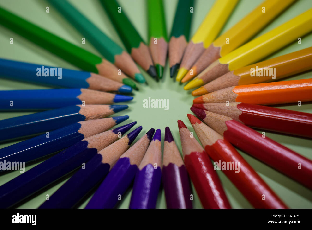 Closeup colorful pencil on green paper background. Macro of a group pencils folded in rainbow colors in a circle. Business concept, teamwork, united g - Stock Image