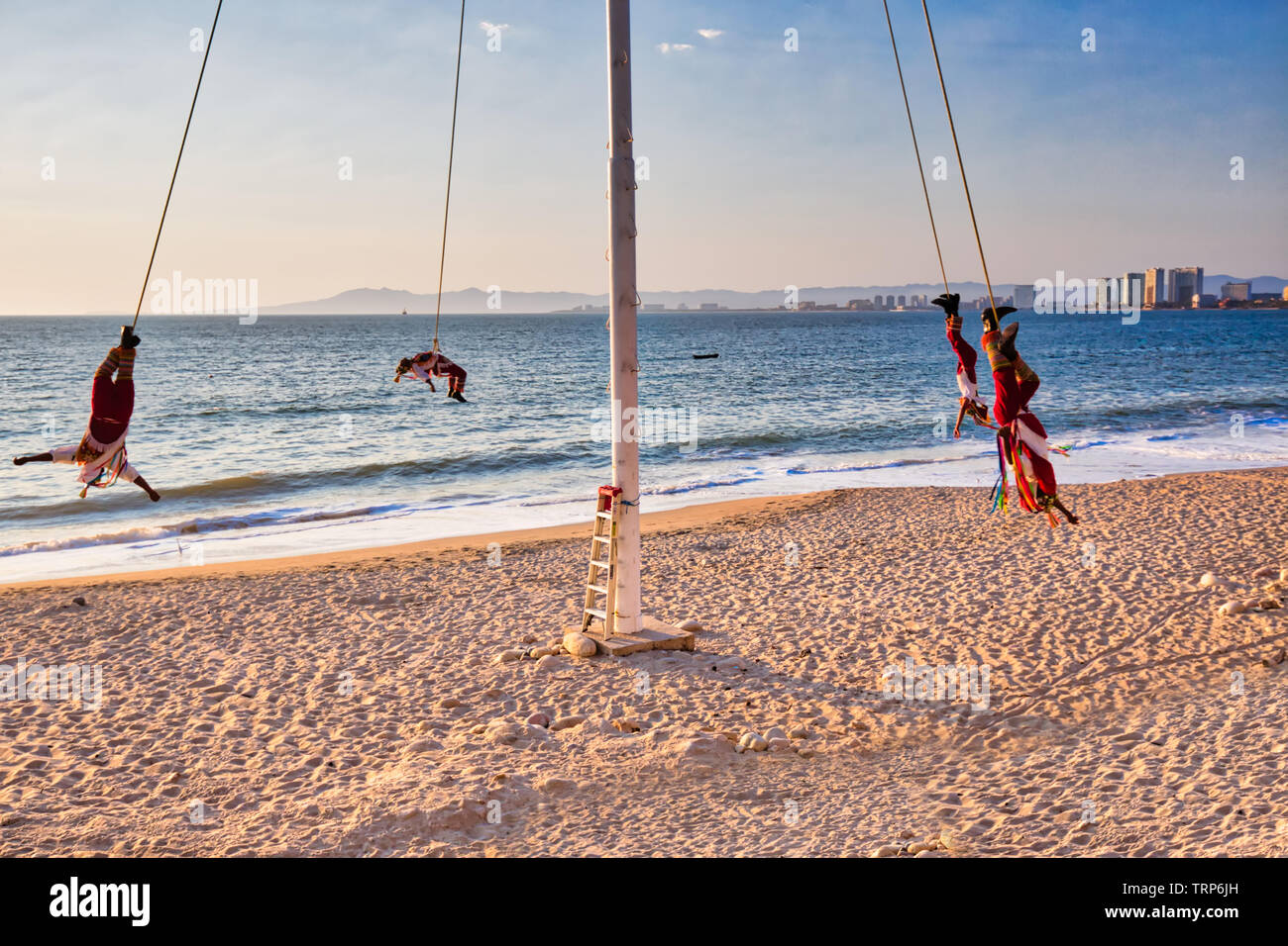 Dance of the Flyers – a famous Papantla Flyers Show in Puerto Vallarta Malecon - Stock Image