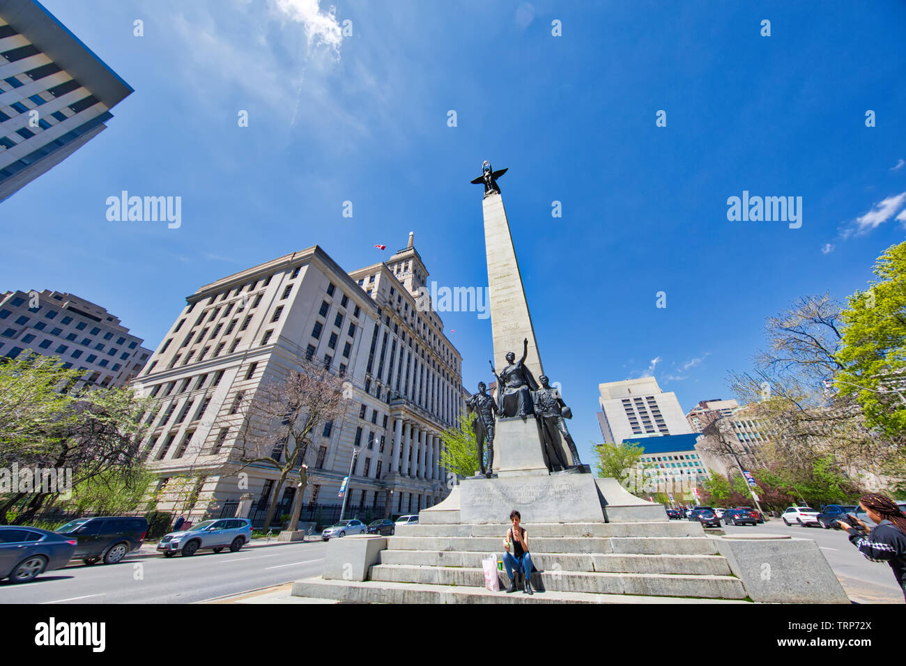 Toronto, Canada-May 20, 2019:  South African War Memorial (a Boer War monument) located at University Avenue and Queen Street West in Toronto - Stock Image