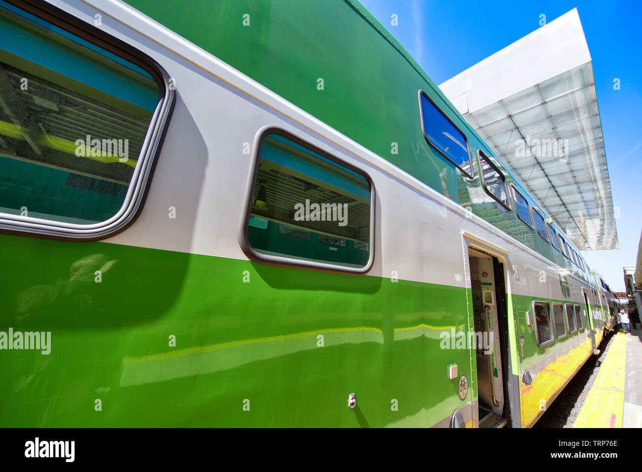 Toronto, Ontario, Canada-June 2, 2019: Toronto Go Train arriving at a platform at Union station terminal - Stock Image