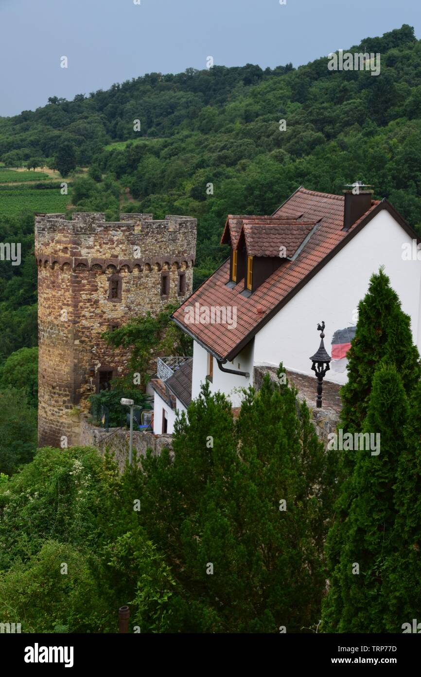 A view of Neuleiningen, a town in the Rhineland of Germany - Stock Image