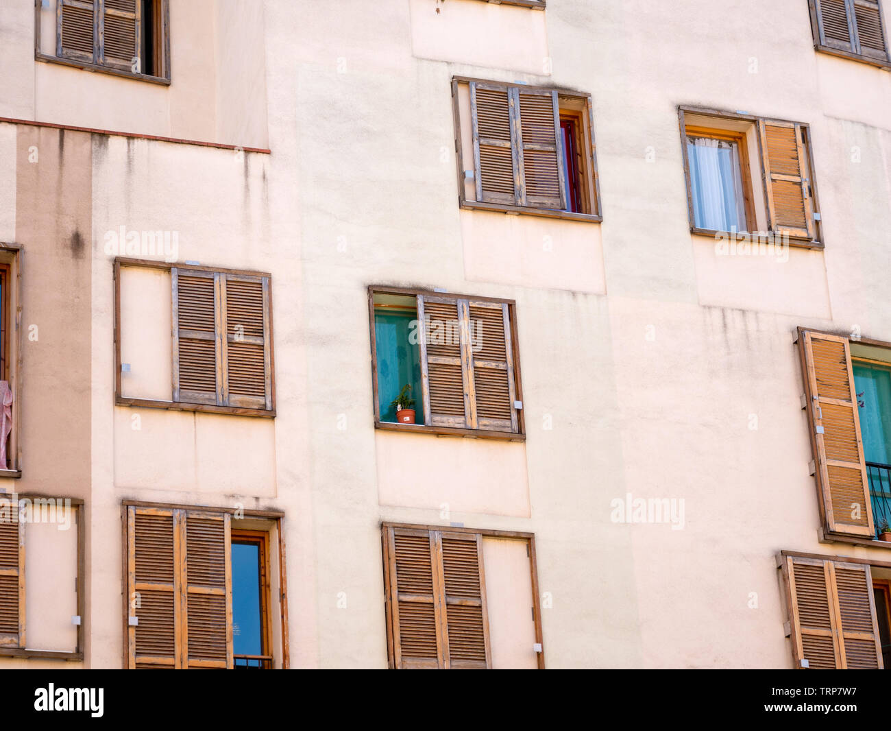 Building / Many Windows on residential building / Building exterior, Barcelona,Spain Stock Photo