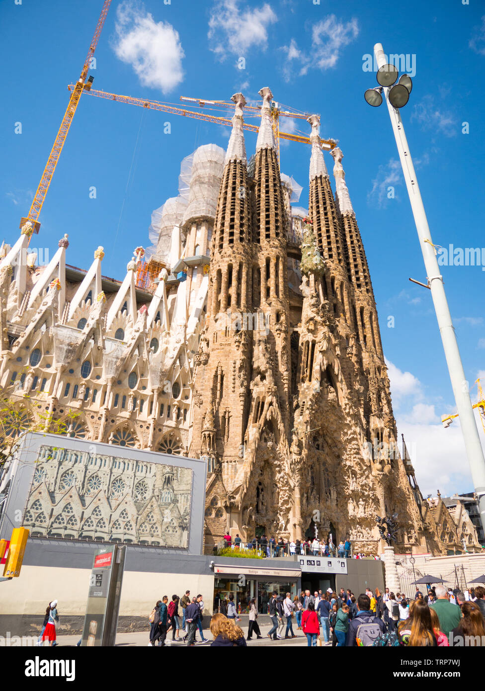Barcelona, Spain - May 2019: Cathedral of La Sagrada Familia. It is designed by architect Antonio Gaudi and is being build since 1882. - Stock Image
