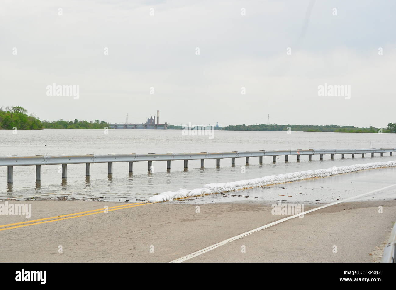 Flooding on the Mississippi river in Missouri Stock Photo