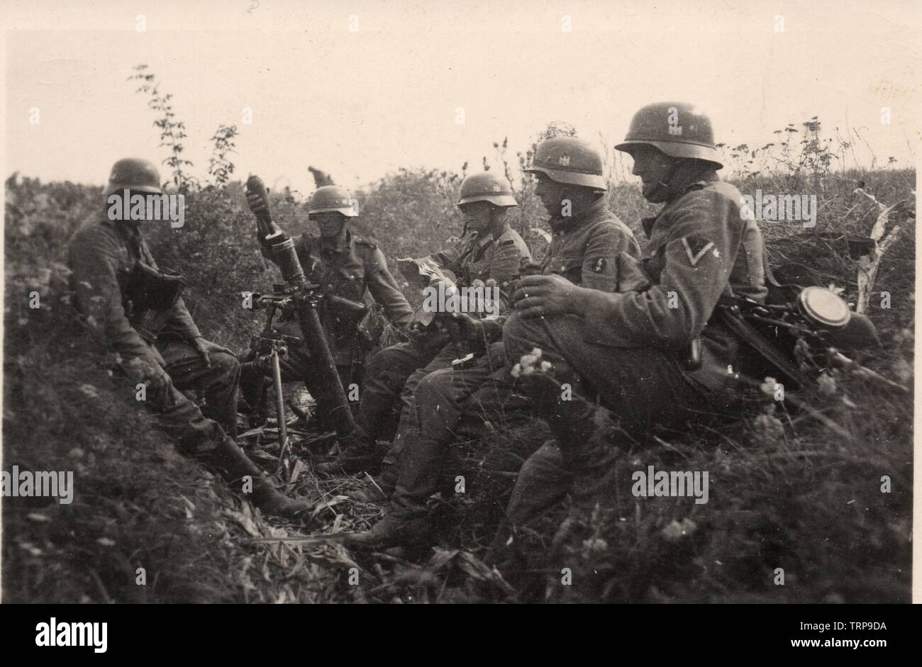 German Soldiers with a 8cm Mortar during the Invasion of Poland 1939 - Stock Image