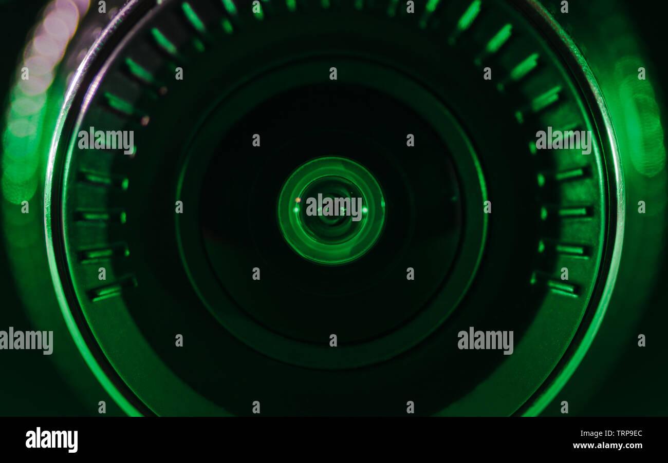 The camera lens with colored light, close photos, close up - Stock Image
