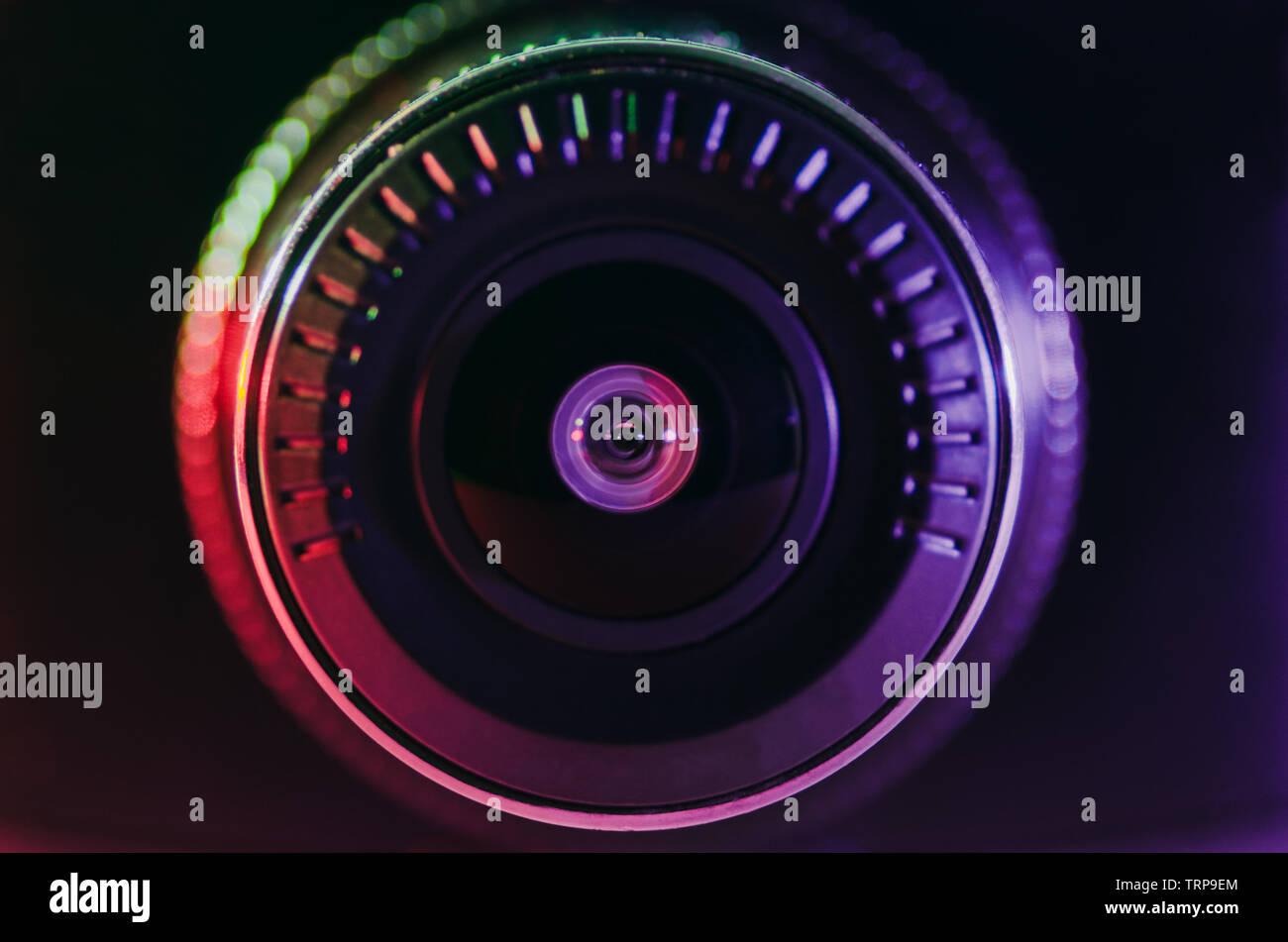 The camera lens with colored light, close photos, close-up - Stock Image