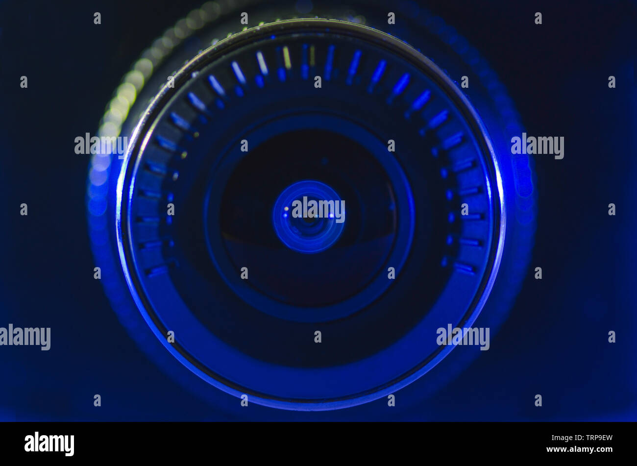 Camera lens with blue color, approximate, photo, macro - Stock Image