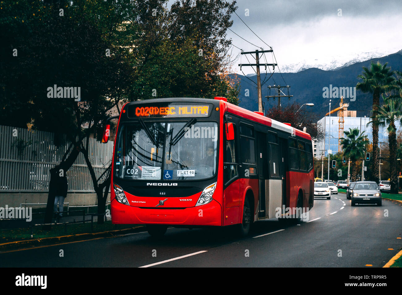 SANTIAGO, CHILE, MAY 2017: Transantiago bus Neobus Mega BRT going into downtown Santiago - Stock Image