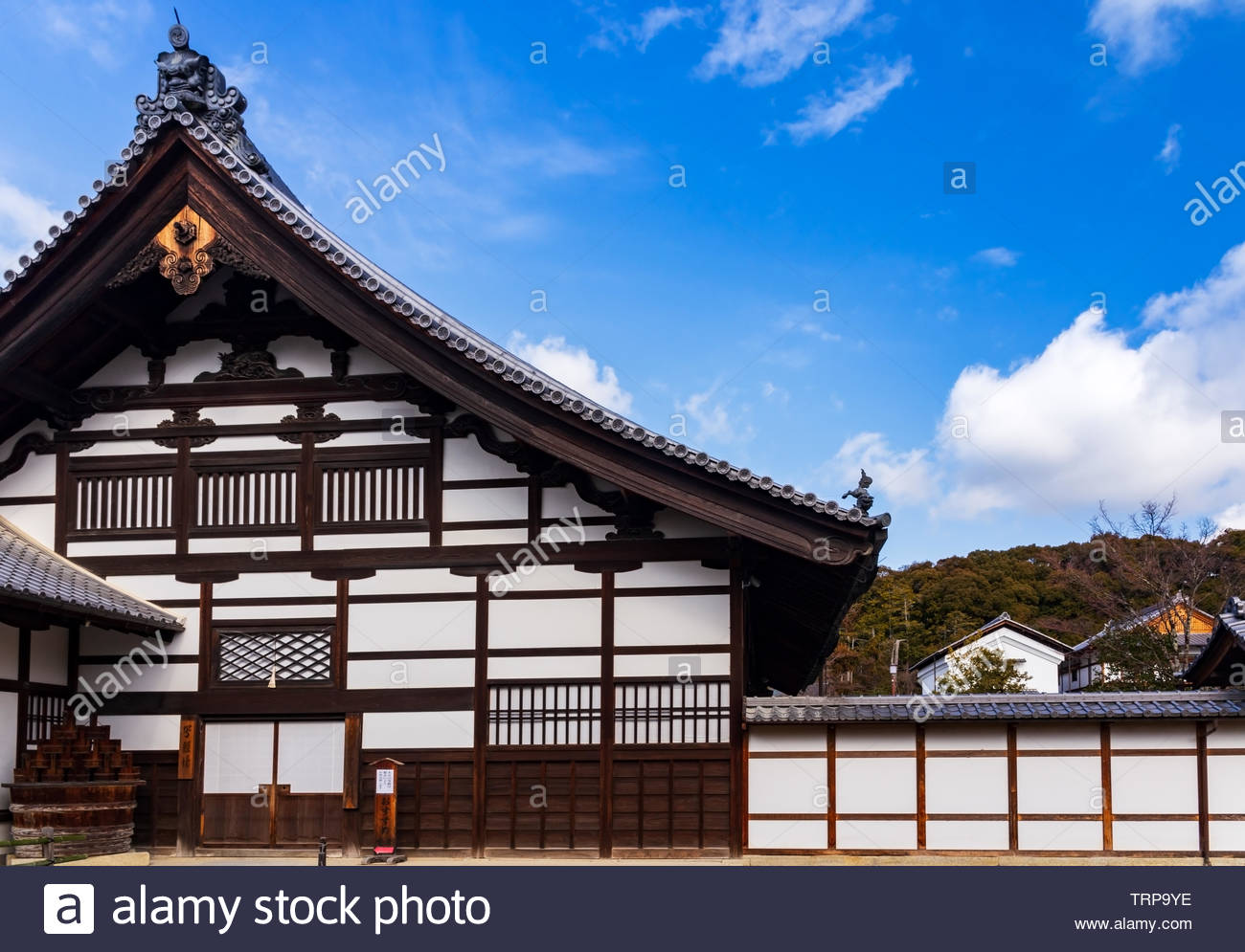 The Kuri Building from the entrance in the zen buddhism Kinkakuji temple in Kyoto, Japan.UNESCO World Heritage Site. Stock Photo