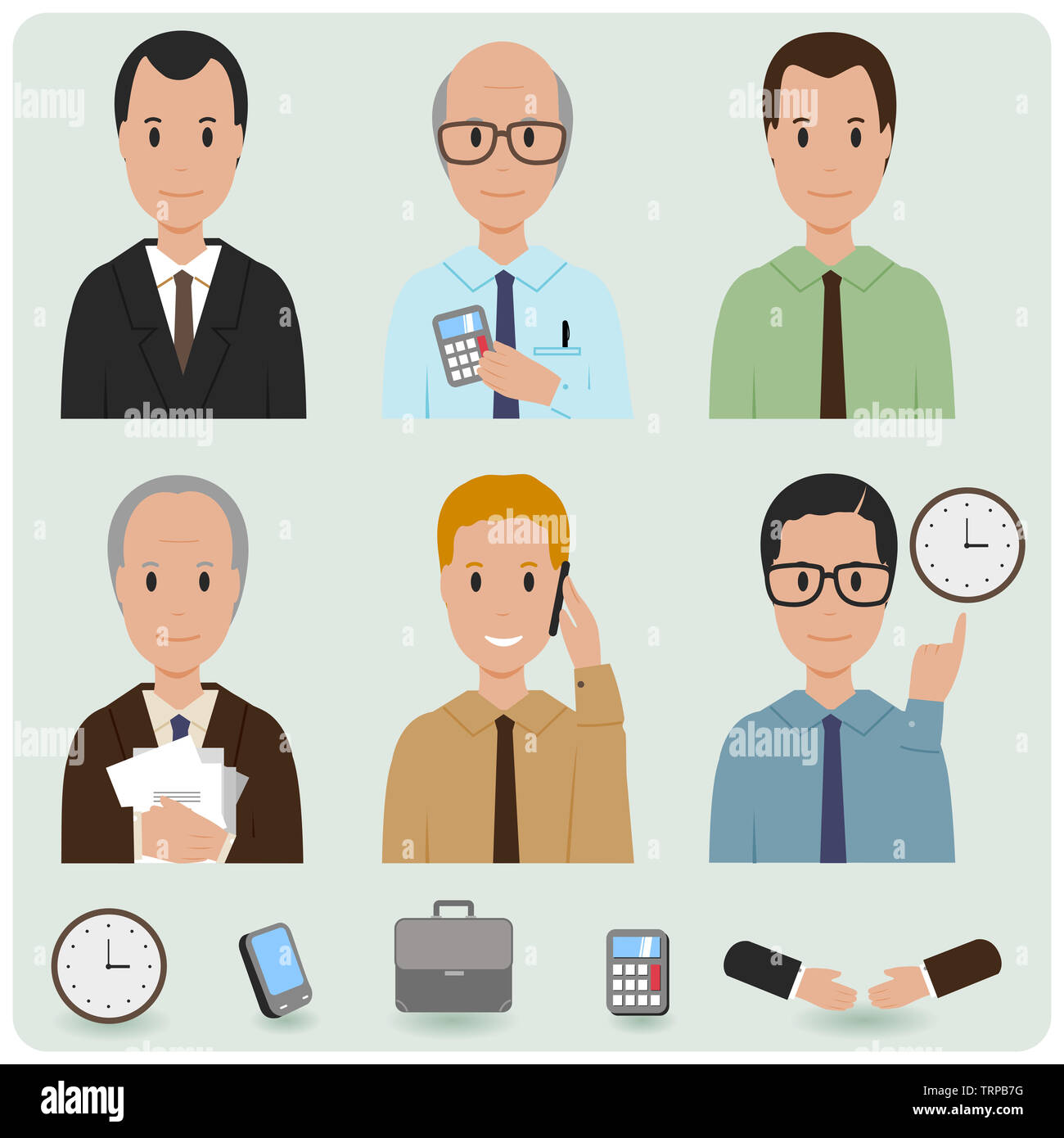 Illustration set of business people characters. - Stock Image