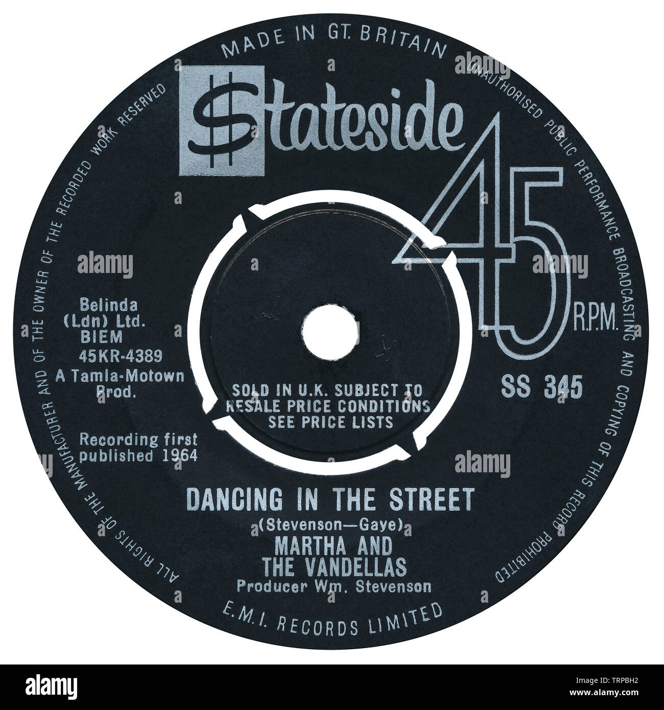 UK 45 rpm single of Dancing In The Street by Martha And The Vandellas on the Stateside label from 1964. Written by William Stevenson, Marvin Gaye and Ivy Jo Hunter and produced by William Stevenson. Stock Photo