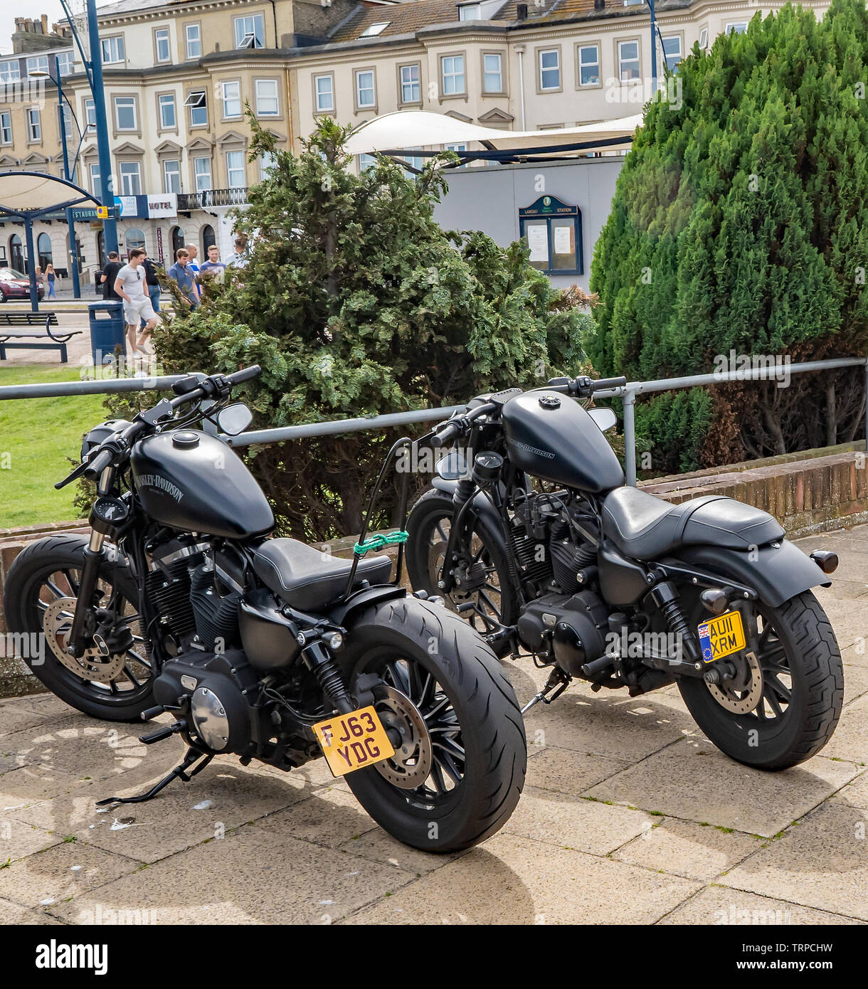Harley Davidson motorcycles parked up along Great Yarmouth seafront on a sunny afternoon - Stock Image