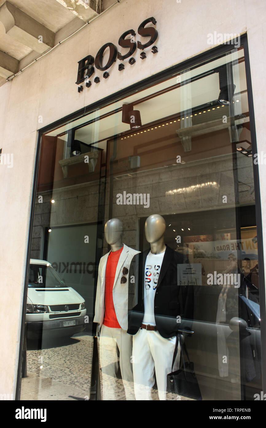 Mens fashion store of Hugo Boss in veronese Via Mazzini, luxury shopping area. - Stock Image