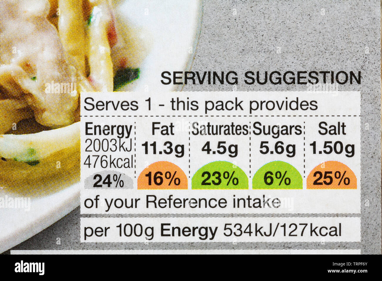 Nutritional information traffic lights system labelling colour coded label on pack of Chicken & Bacon Carbonara M&S Food Balanced for You - Stock Image