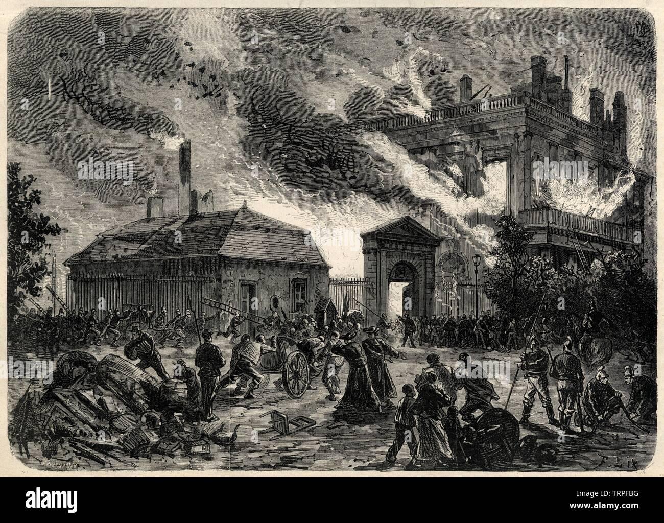 Incendie De L Archeveche De Bourges D Apres Un Croquis De M Bourgeois 1871 Stock Photo Alamy