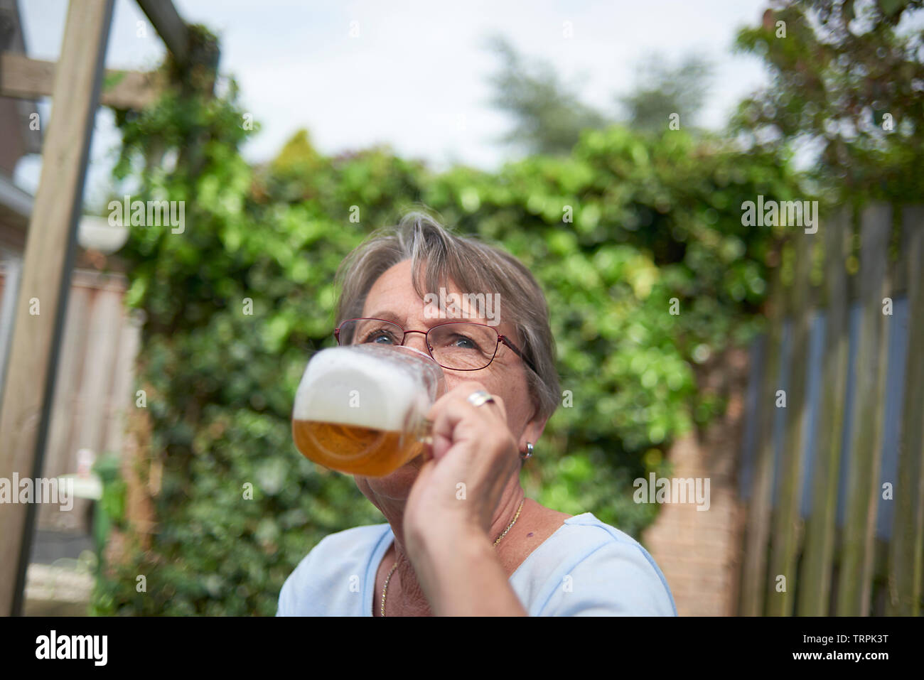 Happy and healthy elderly woman drinking a large glass of beer sitting outside in bright summer sunshine - Stock Image