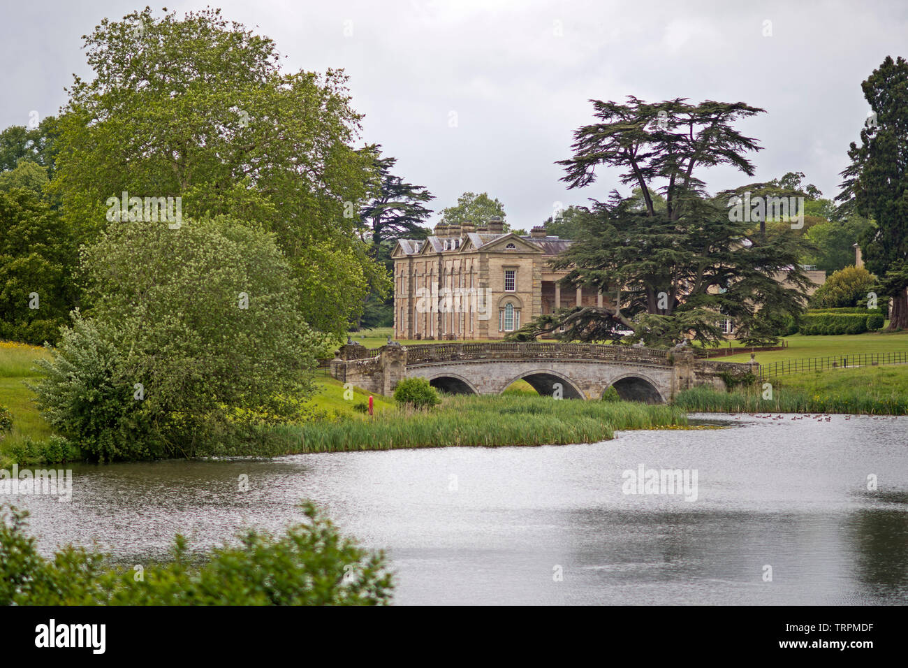 Upper Bridge by the Georgian mansion house at Compton Verney, Warwickshire, UK. 10.06.19. - Stock Image