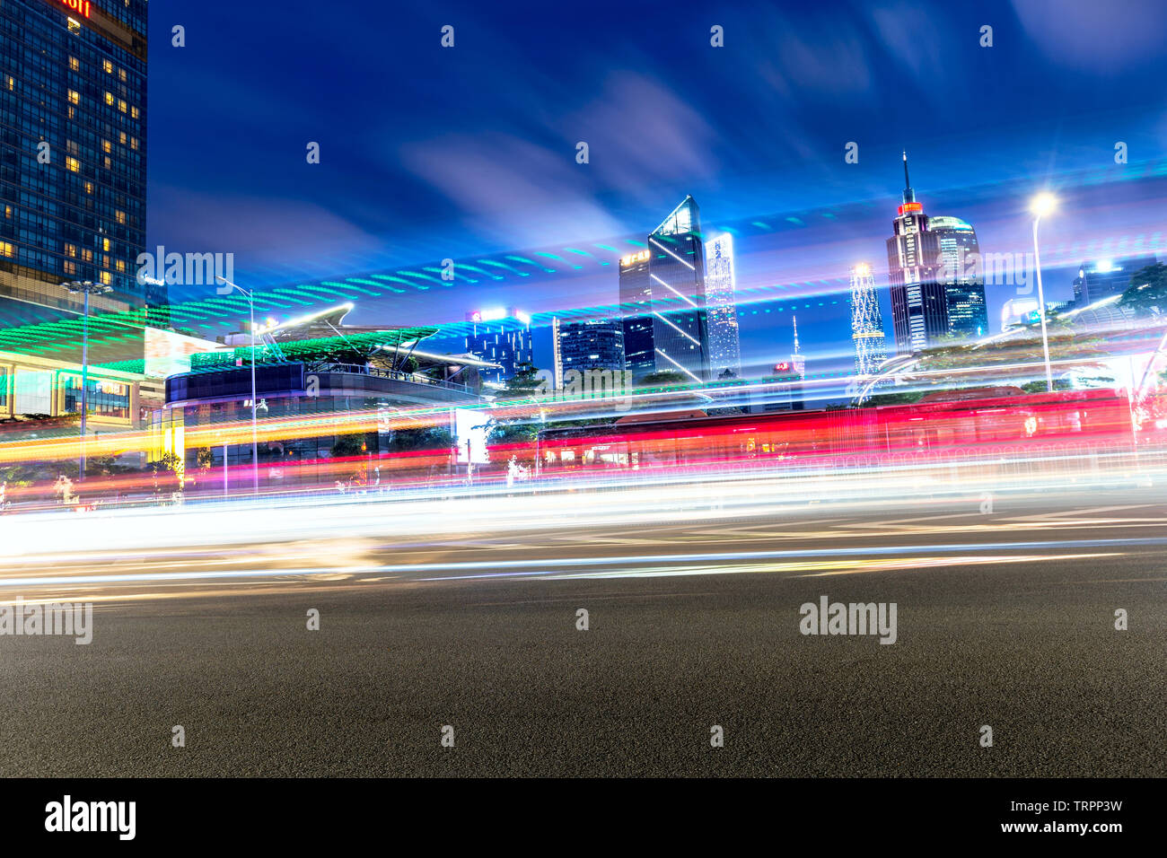 The hasty traffic flow of Guangzhou Sports Center in China - Stock Image