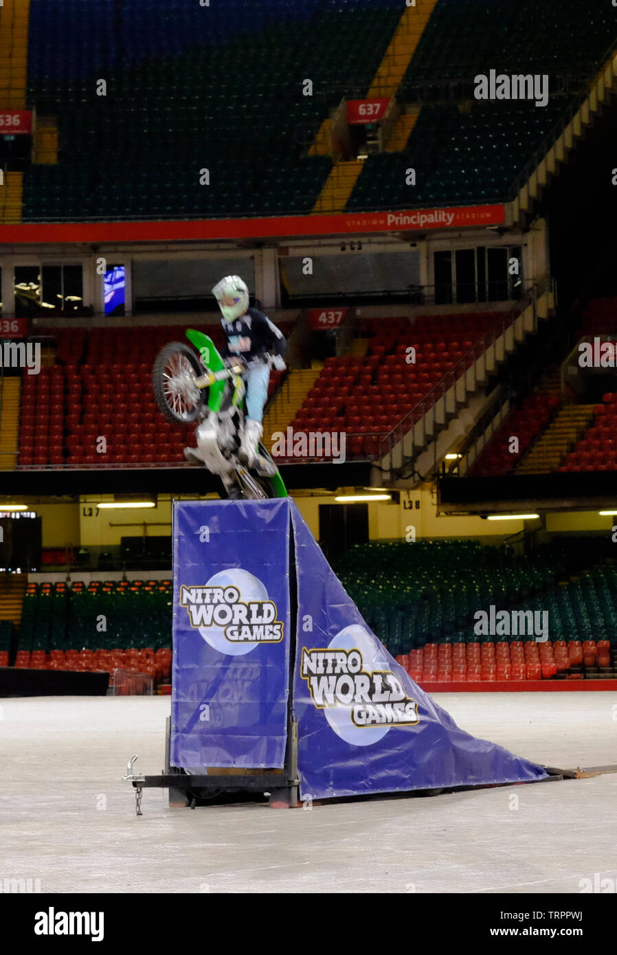 Cardiff, Wales, UK. 11th June 2019. Nitro World Games announce that the world's best action sports competition is coming to Wales in spring 2020. Elite competitors in Freestyle Motocross, BMX, skate and freestyle scooter will be vying for trophies and bragging rights. The event is a partnership between Nitro Circus, Live Nation, Principality Stadium, Visit Wales and Cardiff Council. Credit: Mr Standfast/Alamy Live News - Stock Image