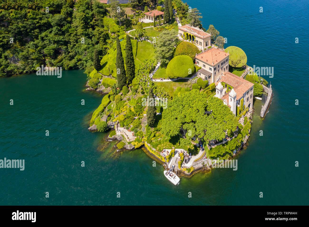 Aerial view of the Villa del Balbianello, on the Lavedo peninsula. Lenno, Tremezzina, Como Lake, Lombardy, Italy. Stock Photo