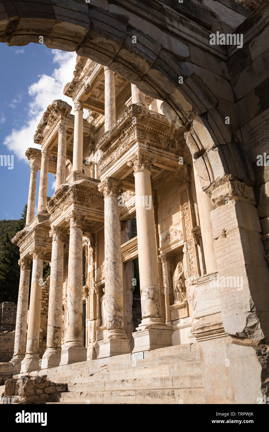 Low angle, side view of facade of the Library of Celsus, Ephesus, Turkey, early morning sunlight. Stock Photo