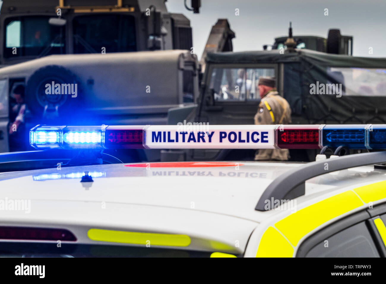 British Military Police Car with blue lights flashing Stock Photo