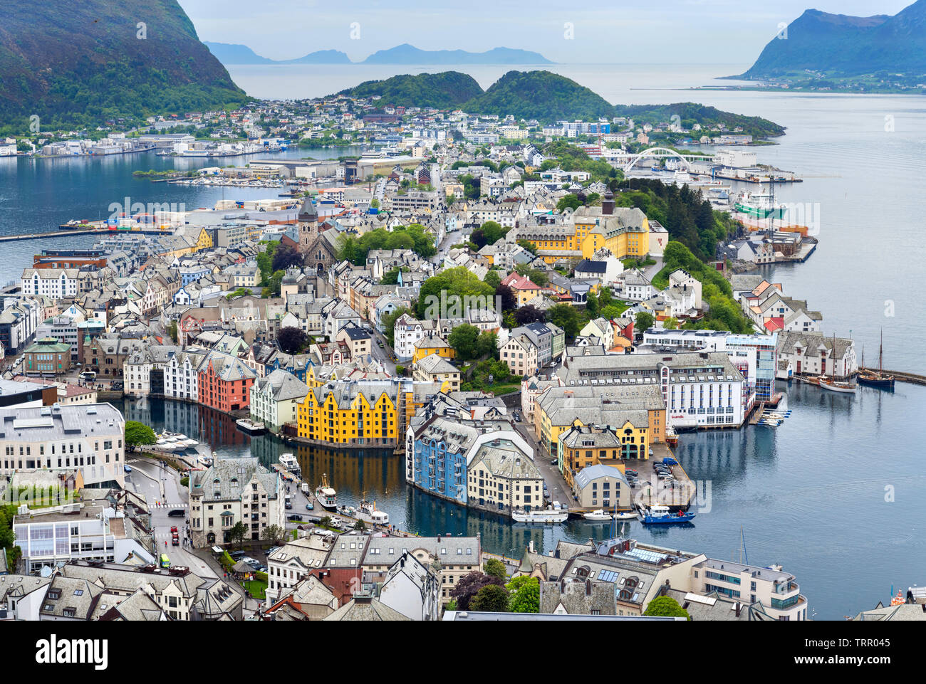 Aerial view over the town and port from the Kniven Viewpoint, Aksla Hill, Ålesund, Møre og Romsdal, Sunnmøre, Norway Stock Photo